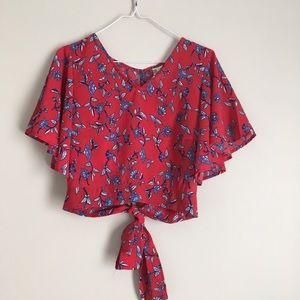 JAPNA red and blue floral crop top